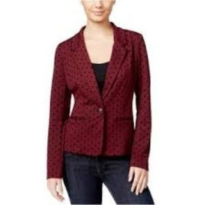 Kensie | burgundy blazer with black polka dots